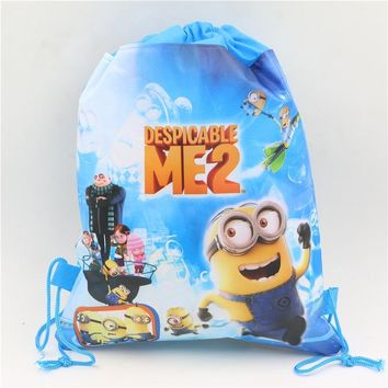 blue minions cartoon non-woven fabrics drawstring backpack children boy girl school bags birthday gift event party supplies