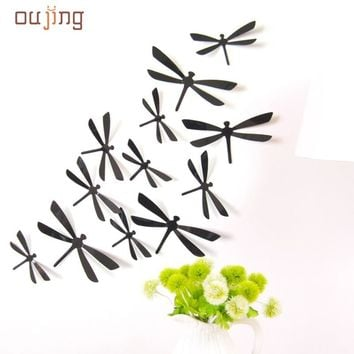 Mosunx Busines 2016 Hot Selling 12pcs 3D DIY Decor Dragonfly Home Party Wall Stickers PVC Art Decal