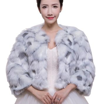 In Stock Wedding Accessory Faux Fur Black White Custom Made Bridal Coat Wedding Bolero Stoles Jacket Shrug Wraps LF56