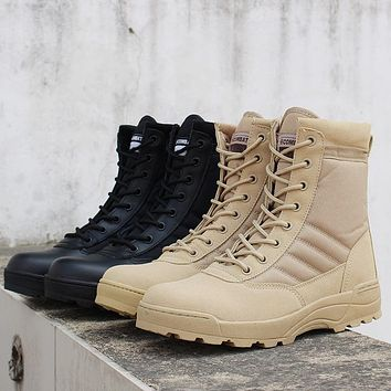 Autumn Winter Men Desert Tactical Military Boots Mens Work Safty Shoes SWAT Army Boot Waterproof Work Shoes Ankle Combat Boots