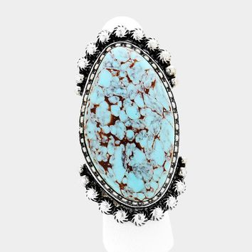 Oval Turquoise & Metal Fashion Stretch Ring
