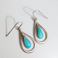 Vintage Earrings: Sterling and Turquoise Tear Drops