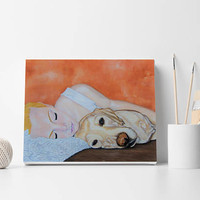 Girl with dog Custom portrait Dog with person portrait Custom pet portrait Custom dog portrait Dog with kid Face portrait Nursery wall decor
