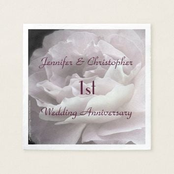 Pink Rose Paper Napkins, 1st Wedding Anniversary Paper Napkin