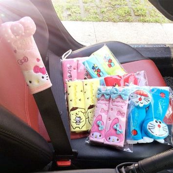 1pair 20cm cartoon hello kitty pudding dog my melody doraemon Maruko car safety belt cover Vehicle stuffed toy