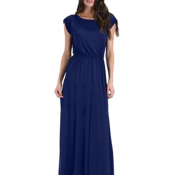 Lyss Loo Timeless Navy Maxi Dress With Elastic Waist & Side Slit