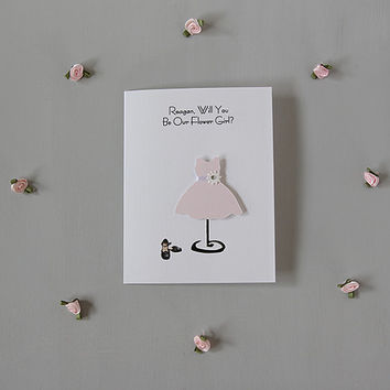 Customized FLOWER GIRL wedding party card, handmade paper goods Will You Be My Flower Girl, classic wedding invite blush pink bridal dress