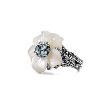 Stephen Dweck Small Floral Mother-of-Pearl & Swiss Blue Ring