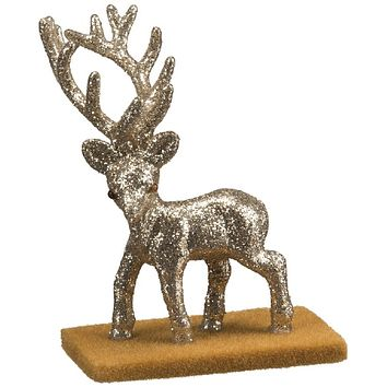 Mini Walking Buck Deer Champagne Glitter Decor