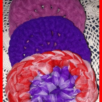 Lot 3 Nylon SCRUBBIES Crocheted Rose Purple Red & White FREE SHIP