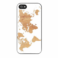 World Map On Wood Texture Print White iPhone 5 Case