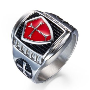 US 7 to 14 Mans Stainless Steel Titanium Red Armor Shield Knight Templar Crusade Cross Signet Ring Medieval Signet Retro Vintage