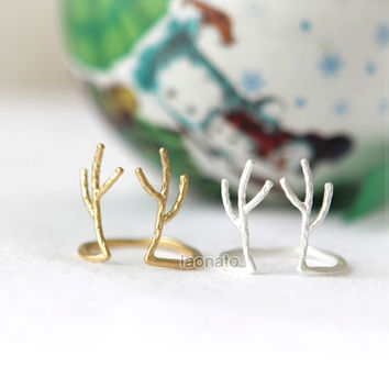 Adjustable Antler Ring / choose your color/ gold and silver