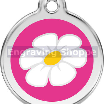 Hot Pink Daisy Enamel and Stainless Steel Personalized Custom Pet Tag with LIFETIME GUARANTEE ID Tag Dog Tags and Cat Tags Free Engraving