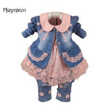 Trendy Baby Girl Clothes Sets 2017 Brand Baby Girls Denim Suit Jacket+T-shirt+Jeans Kids 3pcs Suits Infant Baby Clothing Costume AT_94_13