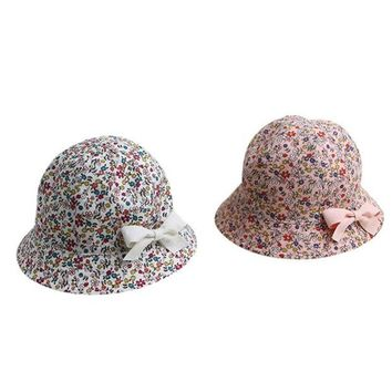 LMF78W Sweet Baby Gift Infant Floral Bowknot Beach Outdoor Sun Bucket Hat Cap 4M-2Y S12
