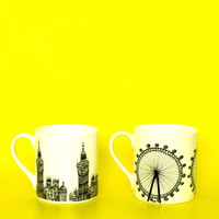 Pair of Statement Mugs, London Eye and Big Ben