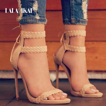 LALA IKAI Women Ankle Strap Sandals Fashion High Heels Sandal Summer Weaving Thin Heels Women Pumps Shoes Ladies 014B0174 -4