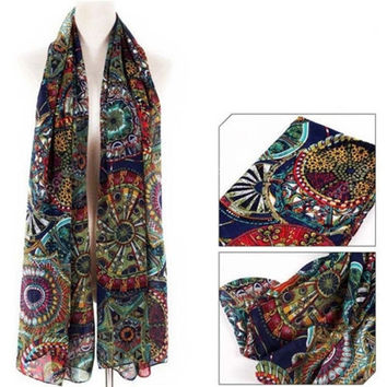 New Womens Chiffon Print Silk Long Neck Scarf Shawl Scarves Stole Wraps = 1957978820