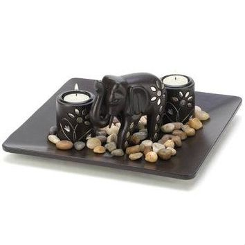 Inlaid Silver Elephant Candle Holder Set