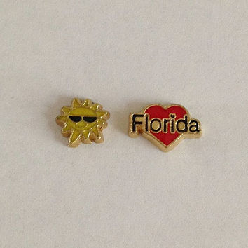 Floating charms for living memory lockets - sun with sunglasses, gold red heart Florida