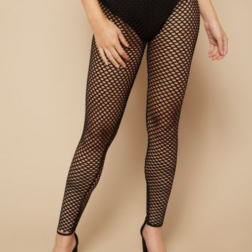 Black High Waisted Fishnet Leggings
