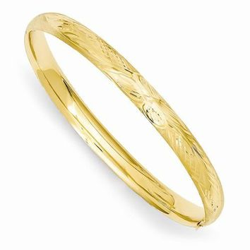 14k Florentine Engraved Baby Bangle Bracelet