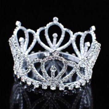 Mini Royal Tiaras Girl Crowns Clear Crystal Austrian Rhinestone Princess Bridal Wedding Prom Party Costumes Hair Jewelry