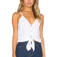 Chaser Shirred Button Down Cami in White