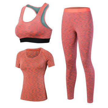 Women's Yoga Sets 3pcs Brand Sport Tight Short Sleeve Shirt Bra Pants Fitness Leggings Running Gym Sport Suit Sport Top Yoga Set