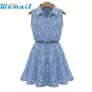 Womail Summer Dress 2017 Clothes Women Sleeveless Floral Print Vestidos Summer Denim Jeans Dresses Women Clothing Gift 1pc
