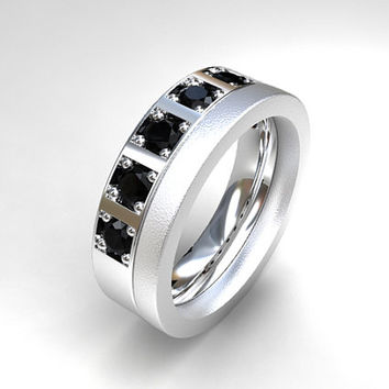 0.70ct black diamond wedding band, palladium ring, modern wedding ring, mens black diamond ring, unique mens ring, commitment ring