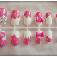 Hand painted false nails  Cute by NailedItByChelsey on Etsy