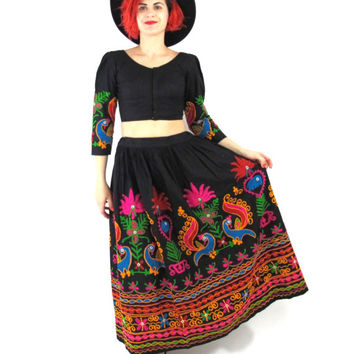 70s Embroidered Indian Crop Top Hippie Boho Colorful Ethnic Blouse Black Cotton Gypsy Bohemian Belly Dancer Shisha Mirrors Matching Set (XS)