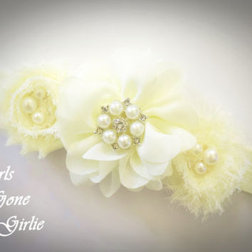 Ivory baby headband , boutique headband baby , fancy pale yellow , chiffon flower , pearl and rhinestone , shabby flower , toddler headband