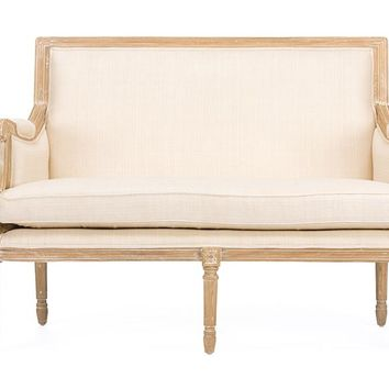 Baxton Studio Chavanon Wood &  Light Beige Linen Traditional French Loveseat Set of 1