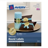 Avery Embossed Round Labels, Matte Gold Foil, 2 Inch Diameter, Pack Of 48 (41467)