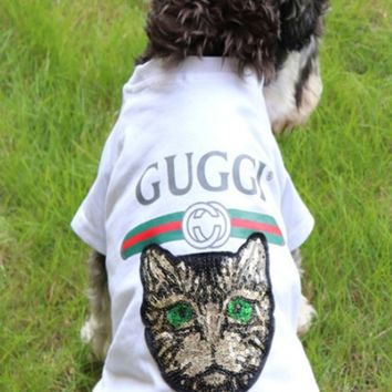 GUCCI The new dog clothes spring and summer cat teddy bear dog, snow nary pet popular logo pure cotton small dog T-shirt thin.