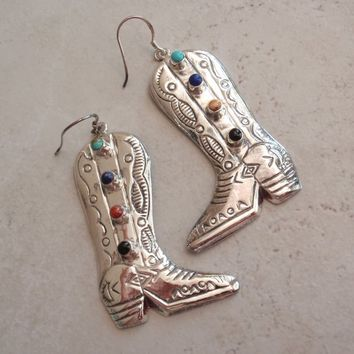 Cowgirl Boot Earrings Large Sterling Silver Natural Gemstones Vintage