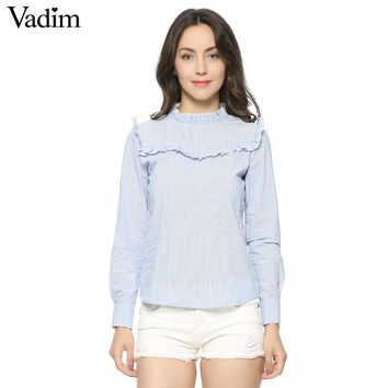 Vadim 100% cotton sweet striped ruffles blouses long sleeve stand collar shirts ladies casual European style tops blusas LT1227