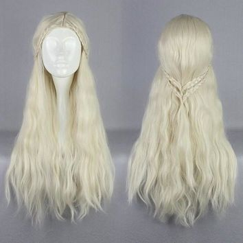 Supreme Halloween Synthetic 75cm Long Curly Beige Game of Thrones Daenerys Targaryen C