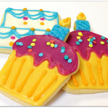 Happy Birthday Sugar Cookies Cake Cupcakes Iced Decorated Cookie Favors