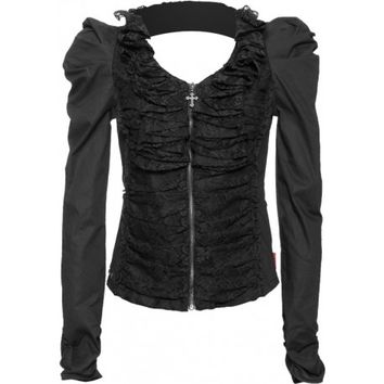 Black zipper blouse ruffled lace front Queen of Darkness
