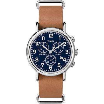 Timex Weekender&reg Chronograph Slip-Thru Watch - Black/Tan