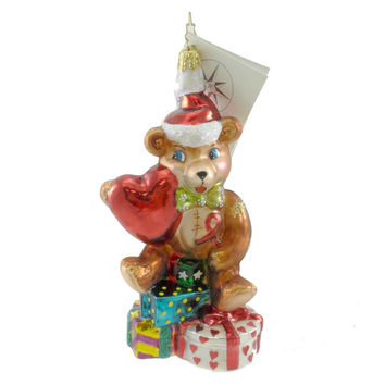 Christopher Radko HEARTFELT JOY Glass Ornament Teddy Bear Heart