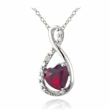 925 Silver Lab Created Ruby & Diamond Accent Infinity Heart Necklace