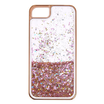 Rose Gold-Tone Liquid Filled Glitter Phone Case