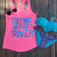 Take Me to the River Tank Top in Neon Pink