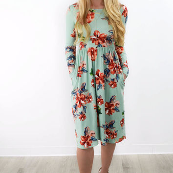 Florence Avenue Mint Pleated Floral Pocket Dress