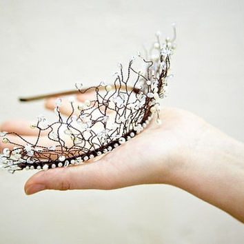 Tiara Crown Nymph or Fairy - Beaded Headband- Glass and Crystal Beaded Evening and formal accessory - Bridesmaid Headpiece Wedding Accessory